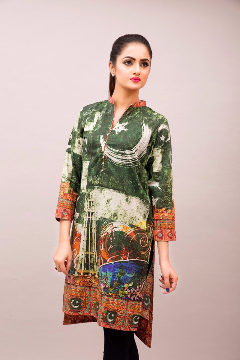 Women's Luxury Fashion PESHAWAR, digital printed shirt with Pakistan flag, mix of green and orange shirt with black trouser