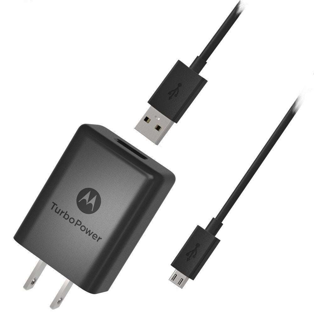 Cargador de pared Turbo Power Motorola 15 con cable micro USB