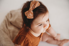Load image into Gallery viewer, Melodie Tawny Floral Cotton Bow Headband or Clip