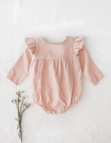 Milana Linen Playsuit - Soft Peach