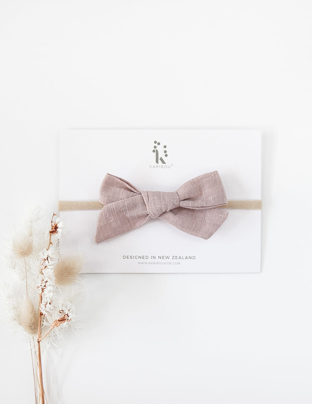 Large School Girl Linen Bow Headband - Dusty Rose