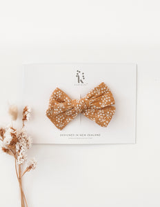 Melodie Tawny Floral Cotton Bow Headband or Clip