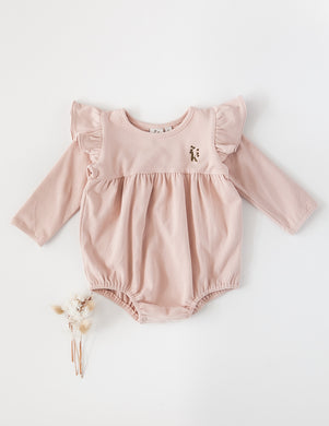 Milana Winged Cotton Playsuit - Soft Pink