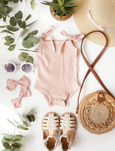 Sienna Cotton Sunsuit-Blush