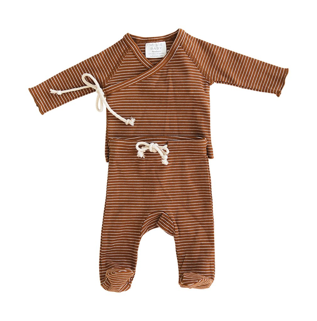 Rust+ White Stripe Ribbed Cotton Layette Set