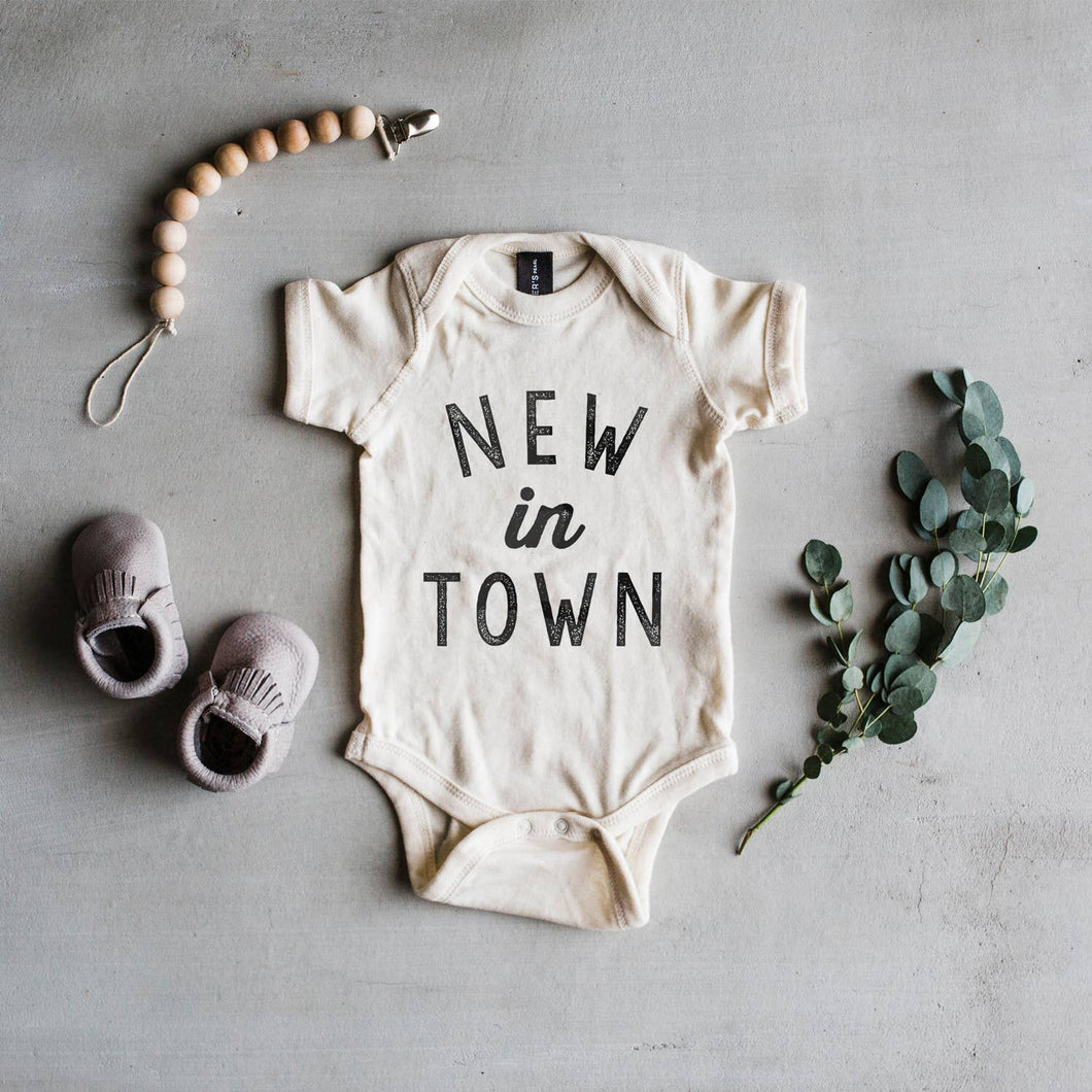 New In Town Baby Bodysuit - Cream