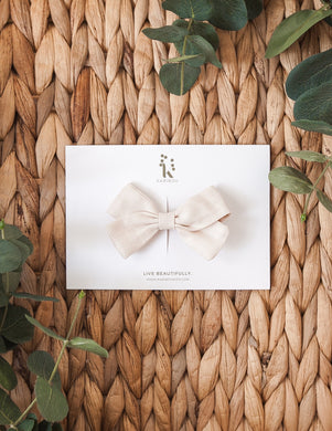 Lulu Linen Bow Hair Clip - Natural