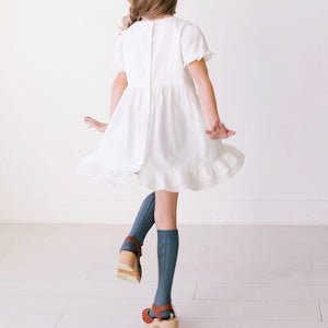 Pennypacker - Ruffle Accent White Linen Dress