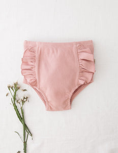 Georgia Ribbed Ruffle Bloomers-Blush