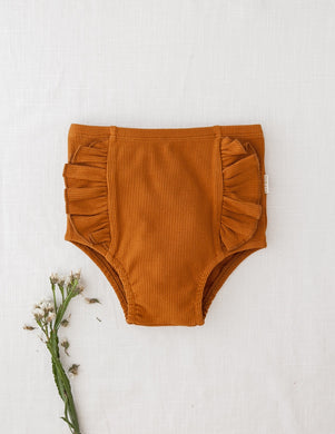 Georgia Ribbed Ruffle Bloomers-Acorn