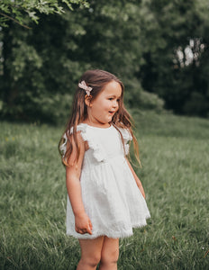 Little Angel Cotton + Lace Dress - White