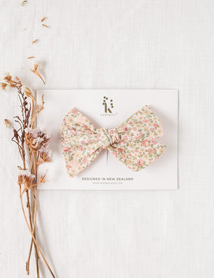 Poppy Cotton Bow Headband or Clip - Peach Floral