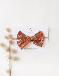Poppy Cotton Bow - Burnt Orange Floral