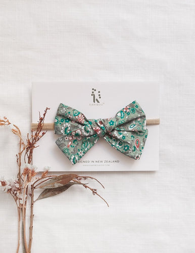 Poppy Cotton Bow Headband - Green Floral