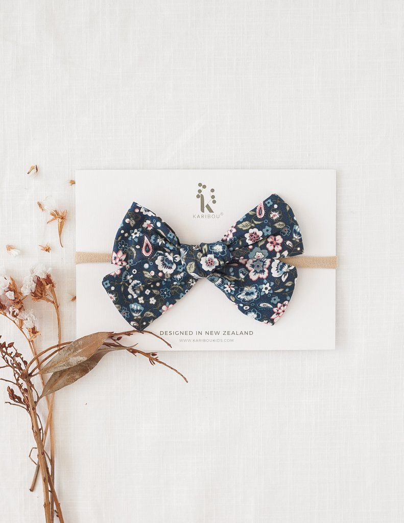 Poppy Cotton Bow Headband or Clip - Midnight Floral