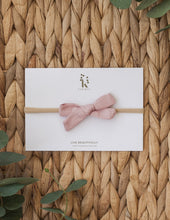 Load image into Gallery viewer, School Girl Linen Bow Headband or 2pc clip Set - Blush