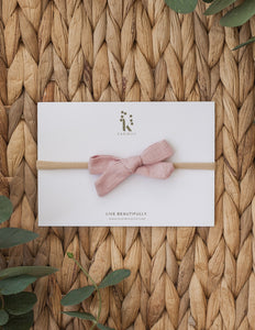 School Girl Linen Bow Headband or 2pc clip Set - Blush