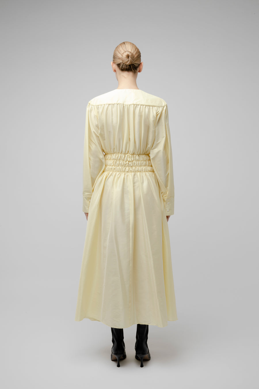 DIANA GATHERED DRESS LIGHT YELLOW