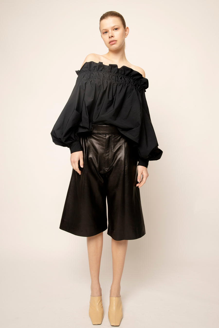 MAUD LEATHER CULOTTES BLACK