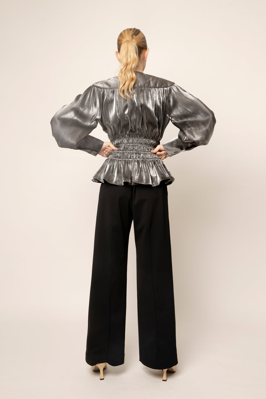 MERYL GATHERED BLOUSE SILVER
