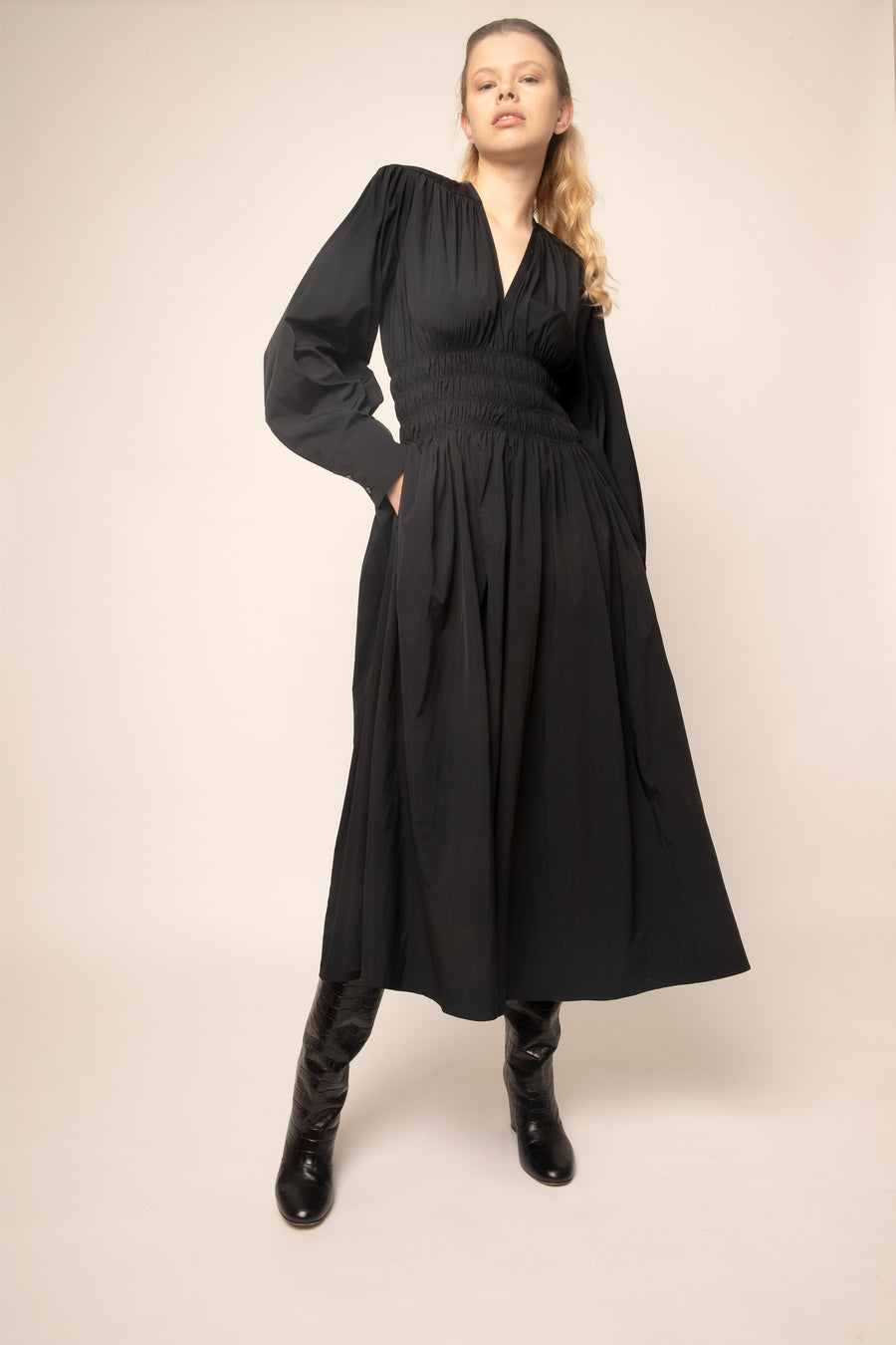 DIANA GATHERED DRESS BLACK MICROFIBER