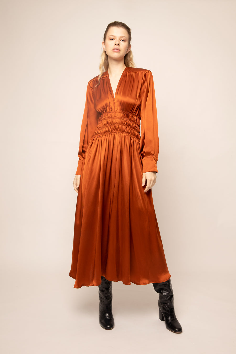 DIANA GATHERED DRESS BURNT ORANGE SILK SATIN