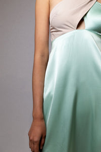 BEA Beige / Mint cross over tie dress
