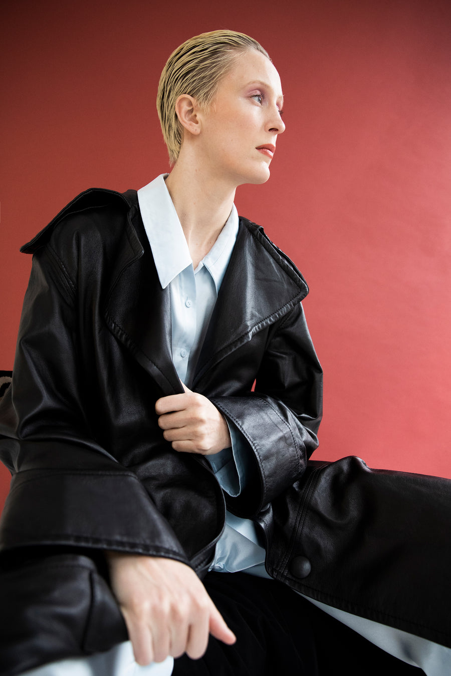 ROBYN VOLUMIOUS TRENCH COAT BLACK