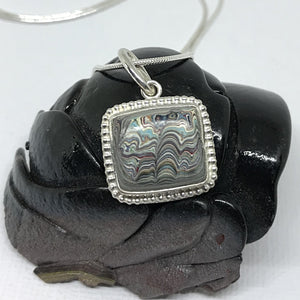 Rare 1960's Detroit Fordite Pendant with Sterling Beaded Halo