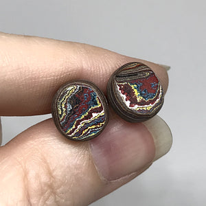 Corvette Fordite Sterling Silver Round Stud Earrings