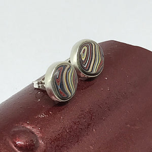 Corvette Fordite Sterling Bezel Stud Earrings