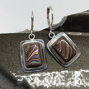 Colorful Corvette Fordite Sterling Silver Leverback Earrings