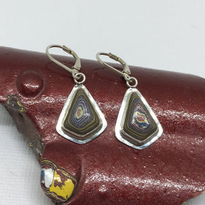 Corvette Fordite Kite-Shaped Dangle Earrings