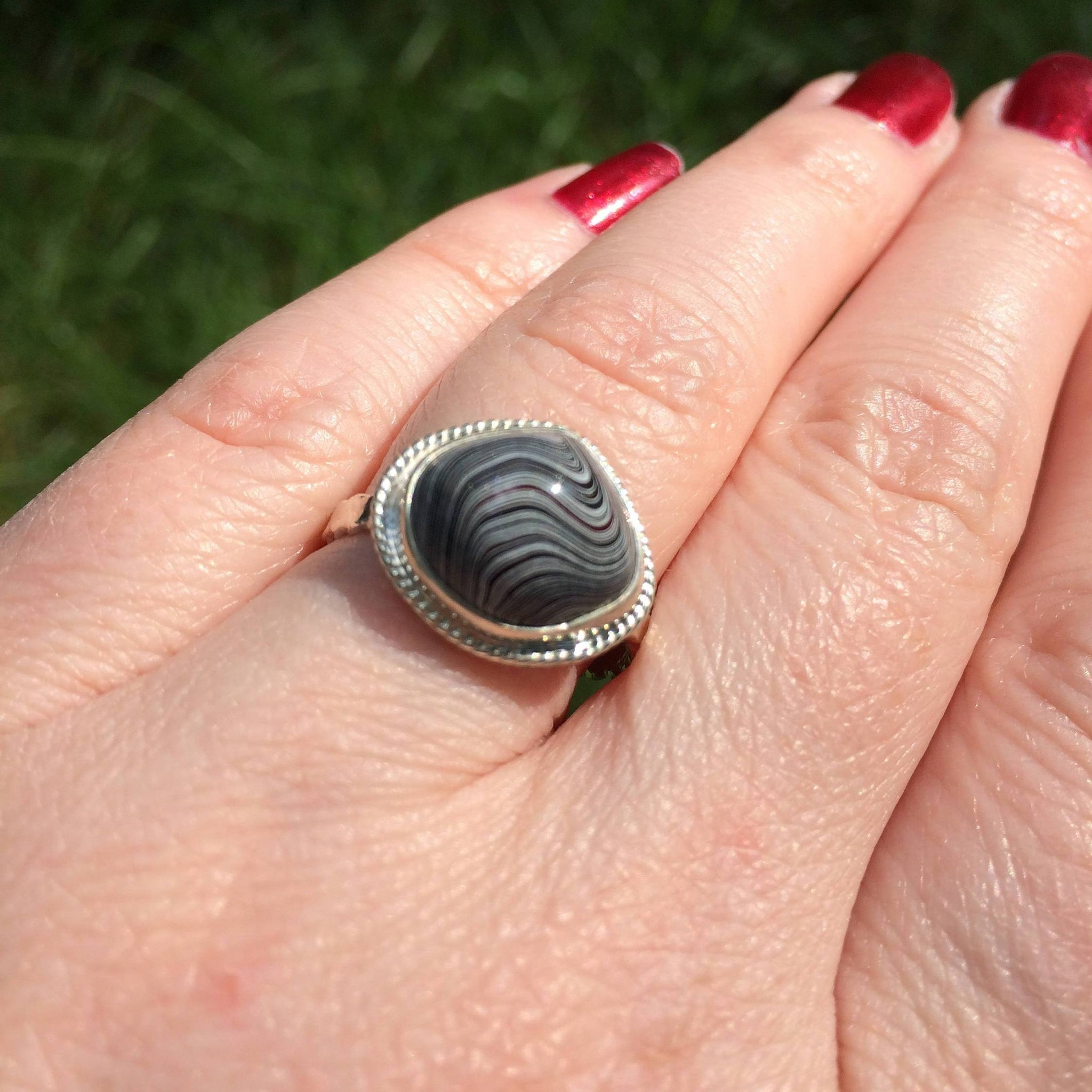 Teardrop Fordite Rope-Bezel Ring