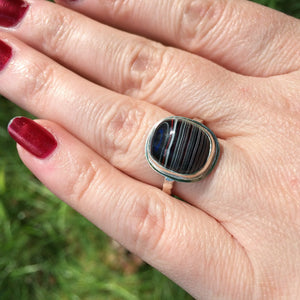 Dramatic Oval Detroit Fordite Ring