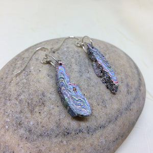 "Minnesota ""Fordite"" Rainbow Colored Freeform Dangle Earrings"