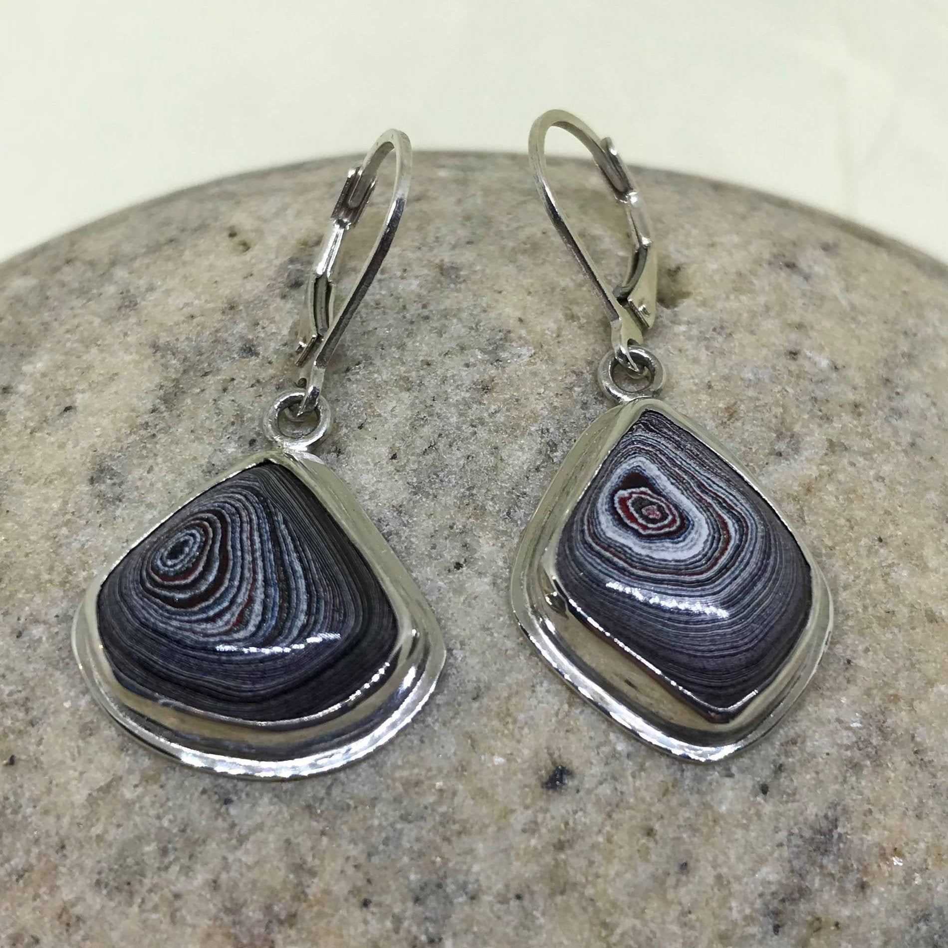 Detroit Fordite Asymmetrical Leverback Earrings