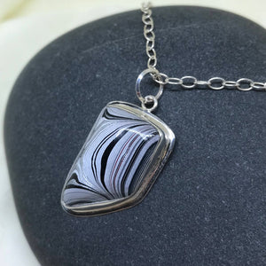 Large and Dramatic Detroit Fordite Pendant