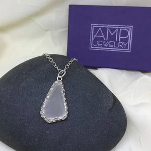 Lake Superior Clear Triangle Beach Glass w/ Filigree