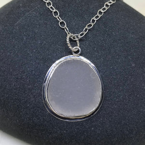 Large Lake Superior Round Beach Glass Pendant
