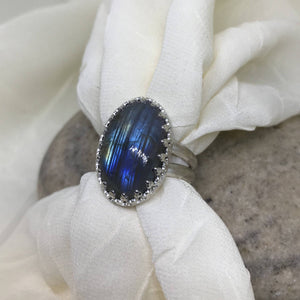 Large Labradorite Ring w/ Filigree