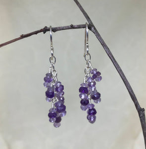 Shades of Amethyst Cluster Drop Earrings