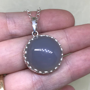 Large Chalcedony Quartz Pendant w/ Filigree