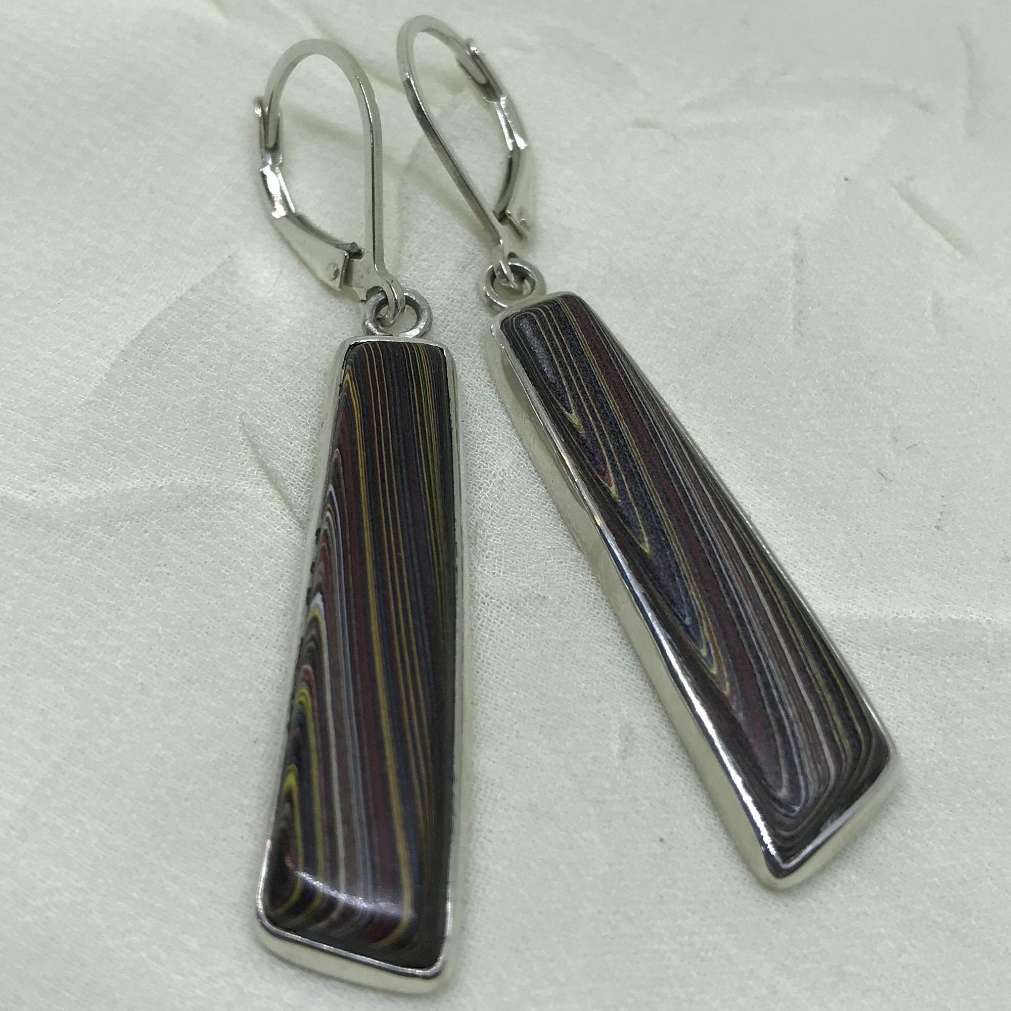 Corvette Fordite Long Striped Drop Earrings