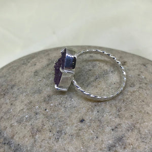 Natural Amethyst Druzy Ring