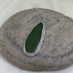 Deep Green Lake Superior Beach Glass Necklace