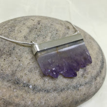 blah2 Natural Amethyst Slice Sterling Silver Necklace