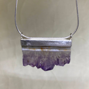 Natural Amethyst Slice Sterling Silver Necklace