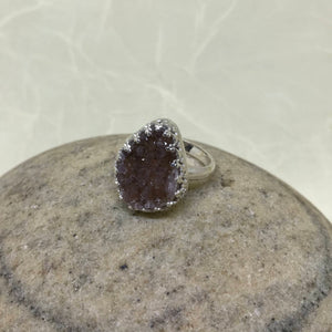 Large Smokey Amethyst Druzy Ring w/ Filigree