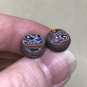 Swirl Pattern Detroit Fordite Round Stud Earrings